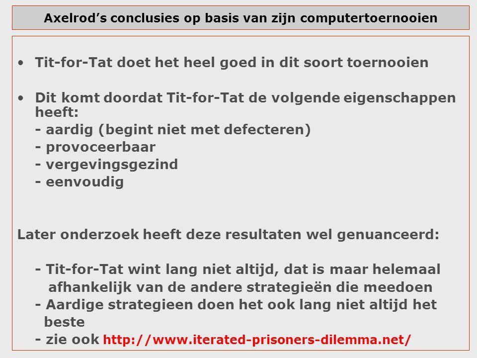 Axelrod's conclusies op basis van zijn computertoernooien Tit-for-Tat doet het heel goed in dit soort toernooien Dit komt doordat Tit-for-Tat de volge