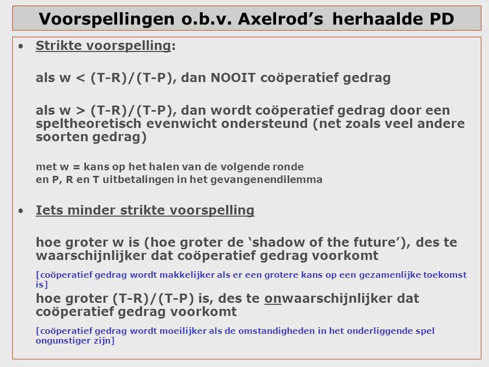 Voorspellingen o.b.v. Axelrod'sherhaalde PD Strikte voorspelling: als w < (T-R)/(T-P), dan NOOIT coöperatief gedrag als w > (T-R)/(T-P), dan wordt coö