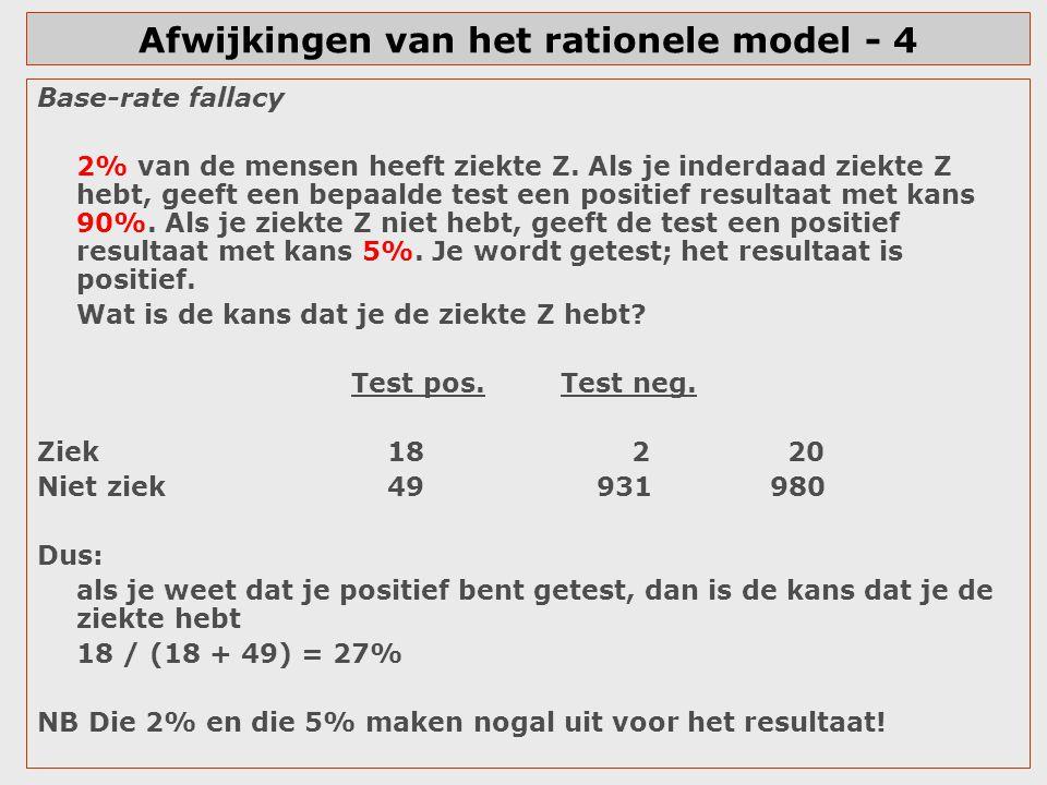 Afwijkingen van het rationele model - 4 Base-rate fallacy 2% van de mensen heeft ziekte Z. Als je inderdaad ziekte Z hebt, geeft een bepaalde test een
