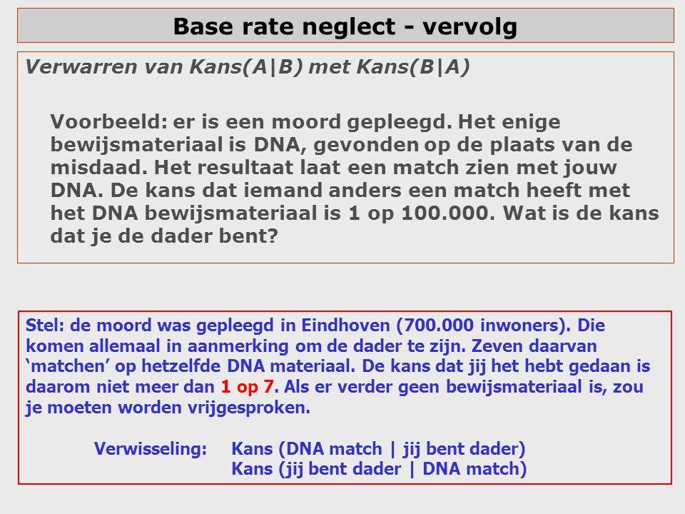 Base rate neglect - vervolg Verwarren van Kans(A|B) met Kans(B|A) Voorbeeld: er is een moord gepleegd. Het enige bewijsmateriaal is DNA, gevonden op d