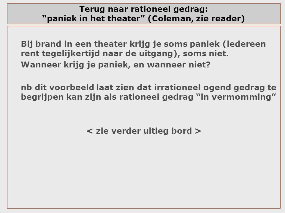 """Terug naar rationeel gedrag: """"paniek in het theater"""" (Coleman, zie reader) Bij brand in een theater krijg je soms paniek (iedereen rent tegelijkertijd"""