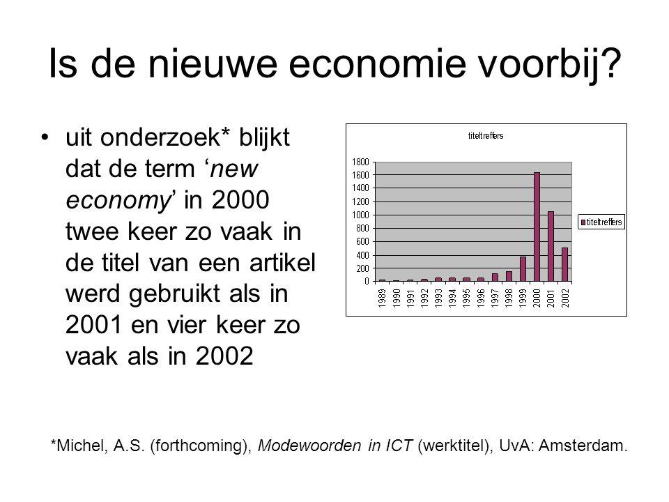 Is de nieuwe economie voorbij? uit onderzoek* blijkt dat de term 'new economy' in 2000 twee keer zo vaak in de titel van een artikel werd gebruikt als