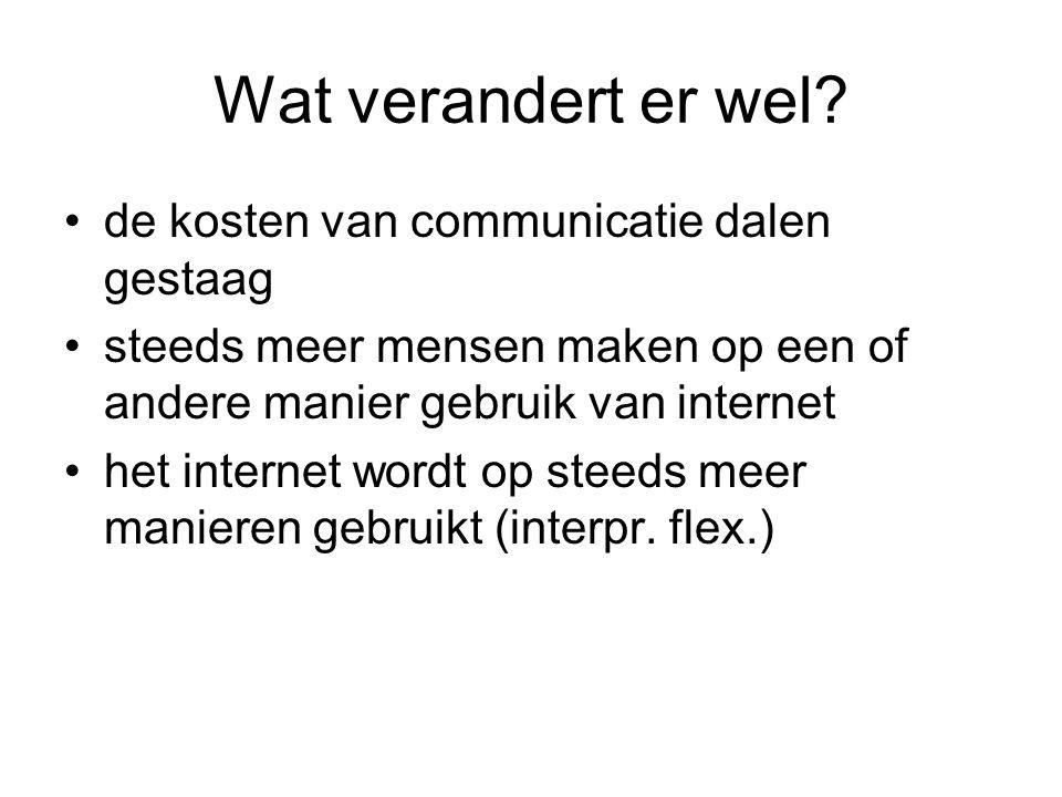 Wat verandert er wel? de kosten van communicatie dalen gestaag steeds meer mensen maken op een of andere manier gebruik van internet het internet word