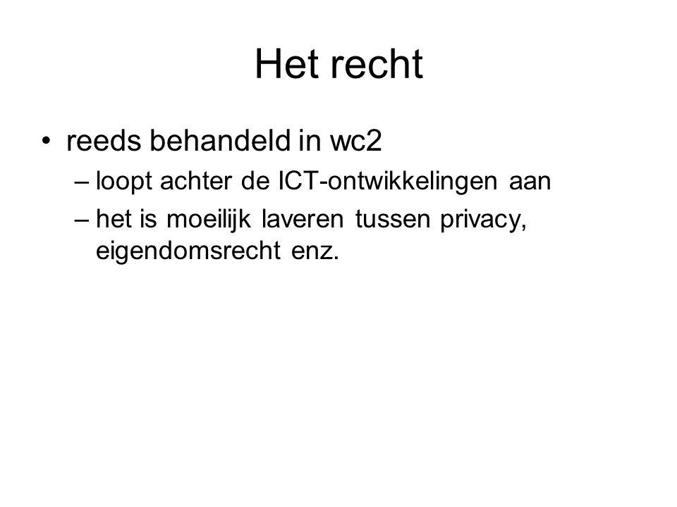 Het recht reeds behandeld in wc2 –loopt achter de ICT-ontwikkelingen aan –het is moeilijk laveren tussen privacy, eigendomsrecht enz.