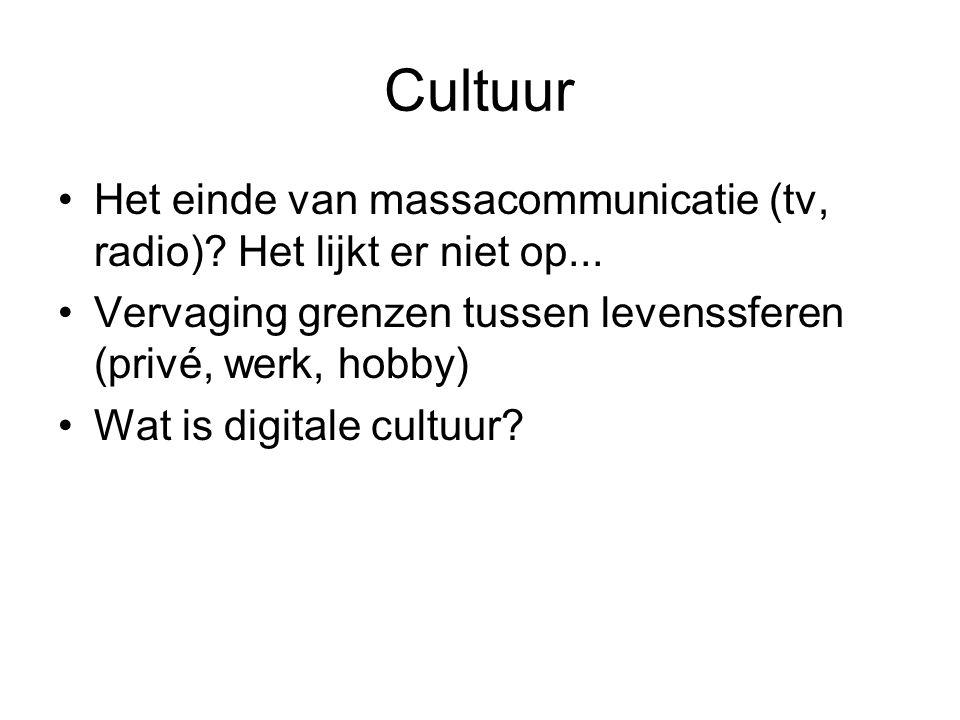 Cultuur Het einde van massacommunicatie (tv, radio)? Het lijkt er niet op... Vervaging grenzen tussen levenssferen (privé, werk, hobby) Wat is digital