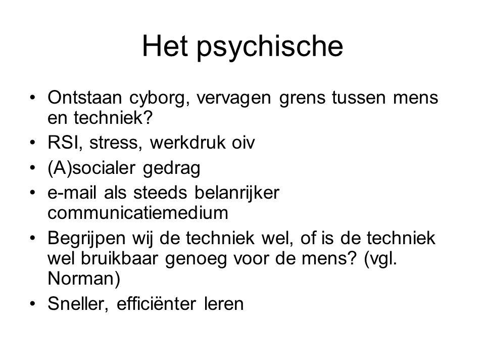 Het psychische Ontstaan cyborg, vervagen grens tussen mens en techniek? RSI, stress, werkdruk oiv (A)socialer gedrag e-mail als steeds belanrijker com