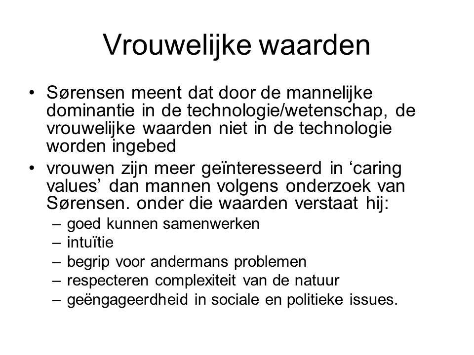 Vrouwelijke waarden Sørensen meent dat door de mannelijke dominantie in de technologie/wetenschap, de vrouwelijke waarden niet in de technologie worden ingebed vrouwen zijn meer geïnteresseerd in 'caring values' dan mannen volgens onderzoek van Sørensen.