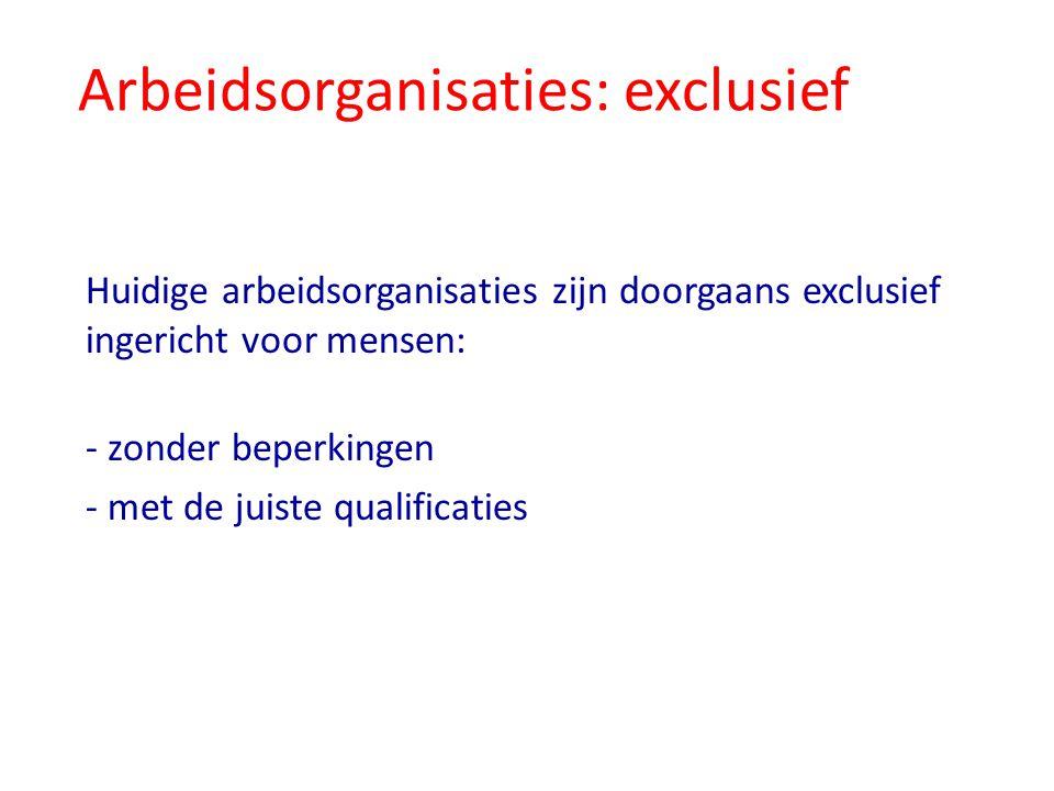 Arbeidsorganisaties: exclusief Huidige arbeidsorganisaties zijn doorgaans exclusief ingericht voor mensen: - zonder beperkingen - met de juiste qualif