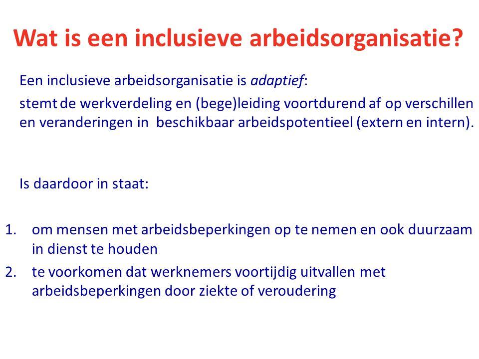 Wat is een inclusieve arbeidsorganisatie? Een inclusieve arbeidsorganisatie is adaptief: stemt de werkverdeling en (bege)leiding voortdurend af op ver