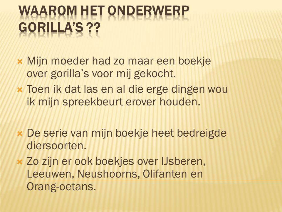 Hoofdstukken - Waarom Gorilla's - Baby gorilla's - Gorilla families - Zilverruggen - Eten - Bekende gorilla's - Dian Fossey - Charles Darwin - Bedreigde diersoorten - Overal gevaar - Mensen bij de gorilla's - Weetjes - Help.