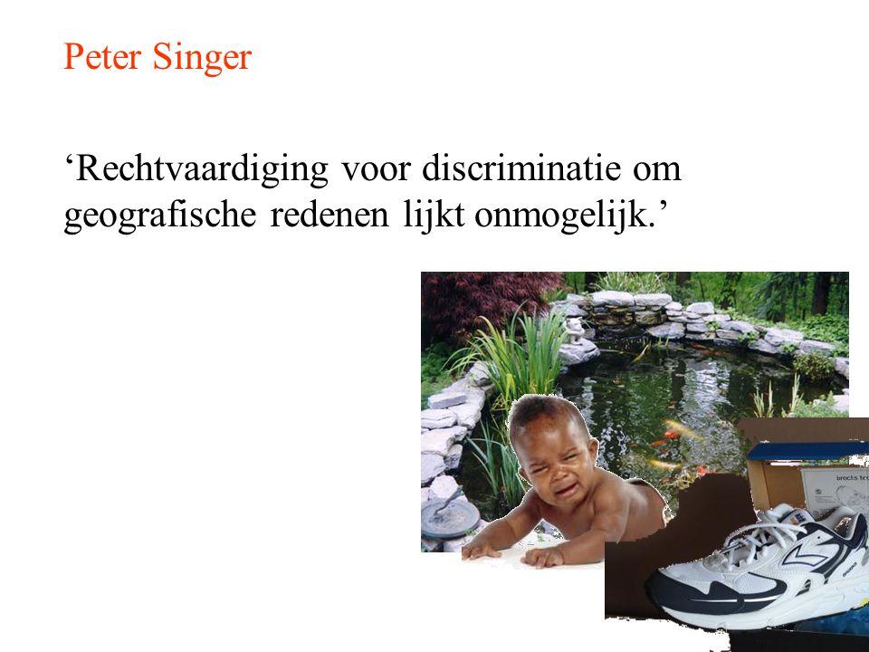 Peter Singer 'Rechtvaardiging voor discriminatie om geografische redenen lijkt onmogelijk.'