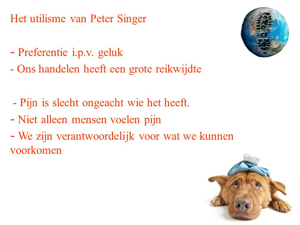 Het utilisme van Peter Singer - Preferentie i.p.v. geluk - Ons handelen heeft een grote reikwijdte - Pijn is slecht ongeacht wie het heeft. - Niet all