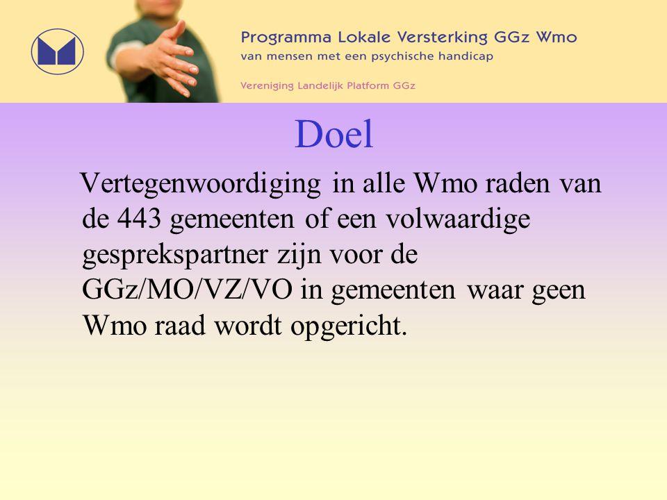 Doel Vertegenwoordiging in alle Wmo raden van de 443 gemeenten of een volwaardige gesprekspartner zijn voor de GGz/MO/VZ/VO in gemeenten waar geen Wmo