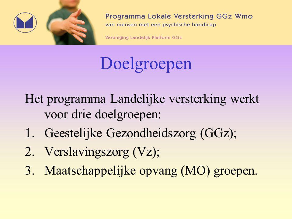 Doelgroepen Het programma Landelijke versterking werkt voor drie doelgroepen: 1.Geestelijke Gezondheidszorg (GGz); 2. Verslavingszorg (Vz); 3. Maatsch