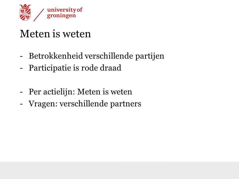 Meten is weten -Betrokkenheid verschillende partijen -Participatie is rode draad -Per actielijn: Meten is weten -Vragen: verschillende partners