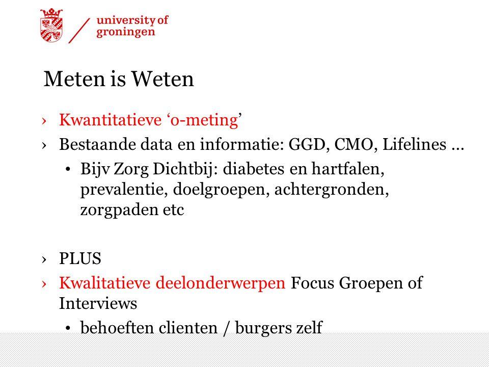 Meten is Weten ›Kwantitatieve 'o-meting' ›Bestaande data en informatie: GGD, CMO, Lifelines... Bijv Zorg Dichtbij: diabetes en hartfalen, prevalentie,
