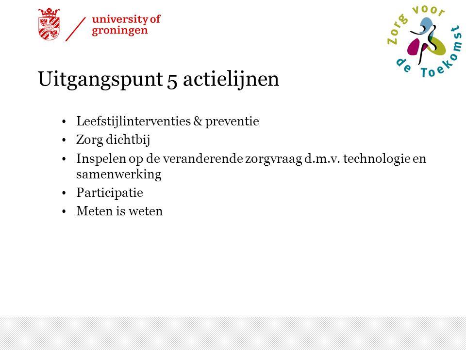 Uitgangspunt 5 actielijnen Leefstijlinterventies & preventie Zorg dichtbij Inspelen op de veranderende zorgvraag d.m.v. technologie en samenwerking Pa