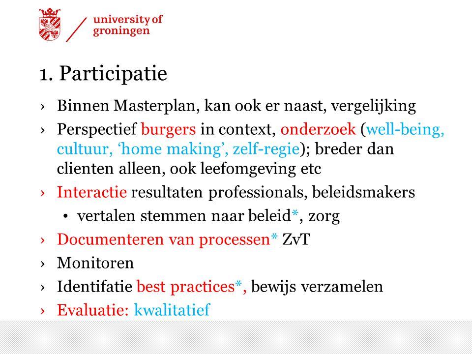 1. Participatie ›Binnen Masterplan, kan ook er naast, vergelijking ›Perspectief burgers in context, onderzoek (well-being, cultuur, 'home making', zel