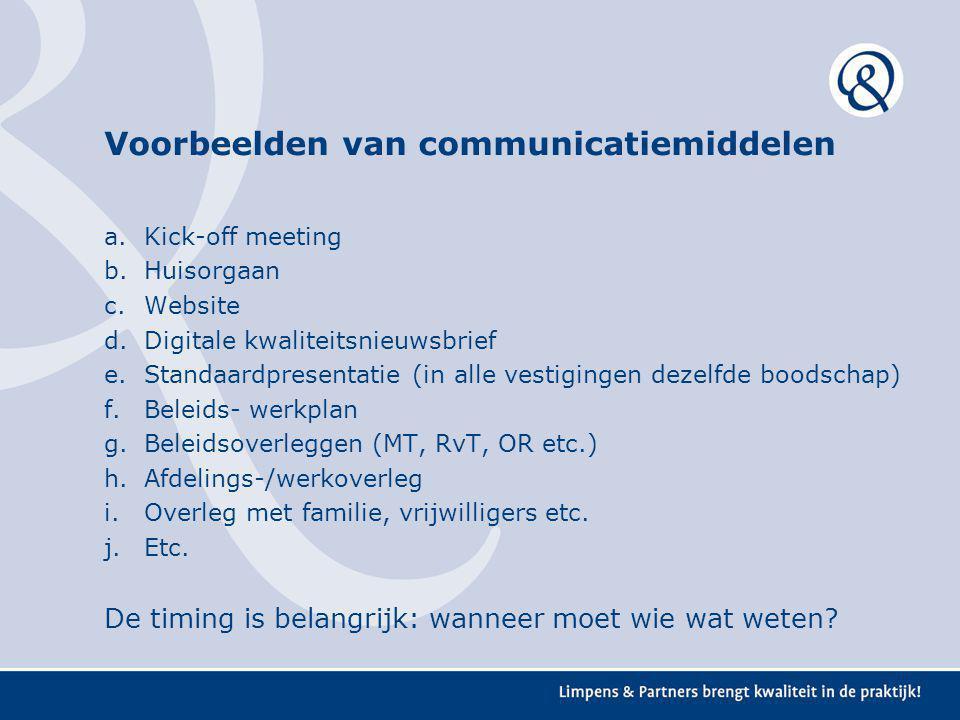 Voorbeelden van communicatiemiddelen a.Kick-off meeting b.Huisorgaan c.Website d.Digitale kwaliteitsnieuwsbrief e.Standaardpresentatie (in alle vestig