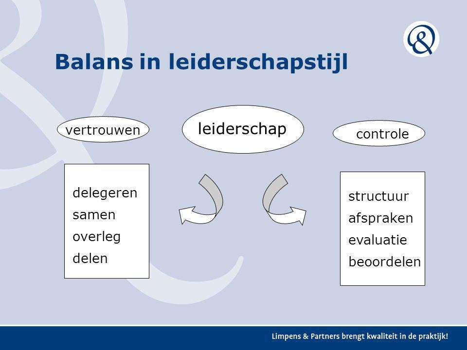 leiderschap vertrouwen controle structuur afspraken evaluatie beoordelen delegeren samen overleg delen Balans in leiderschapstijl