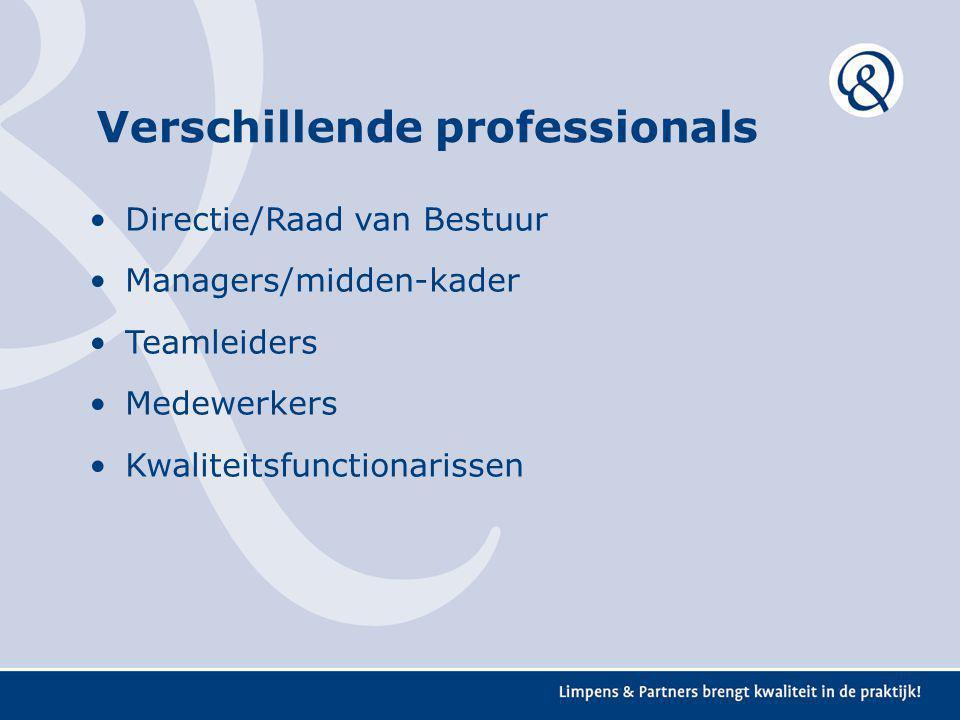 Verschillende professionals Directie/Raad van Bestuur Managers/midden-kader Teamleiders Medewerkers Kwaliteitsfunctionarissen
