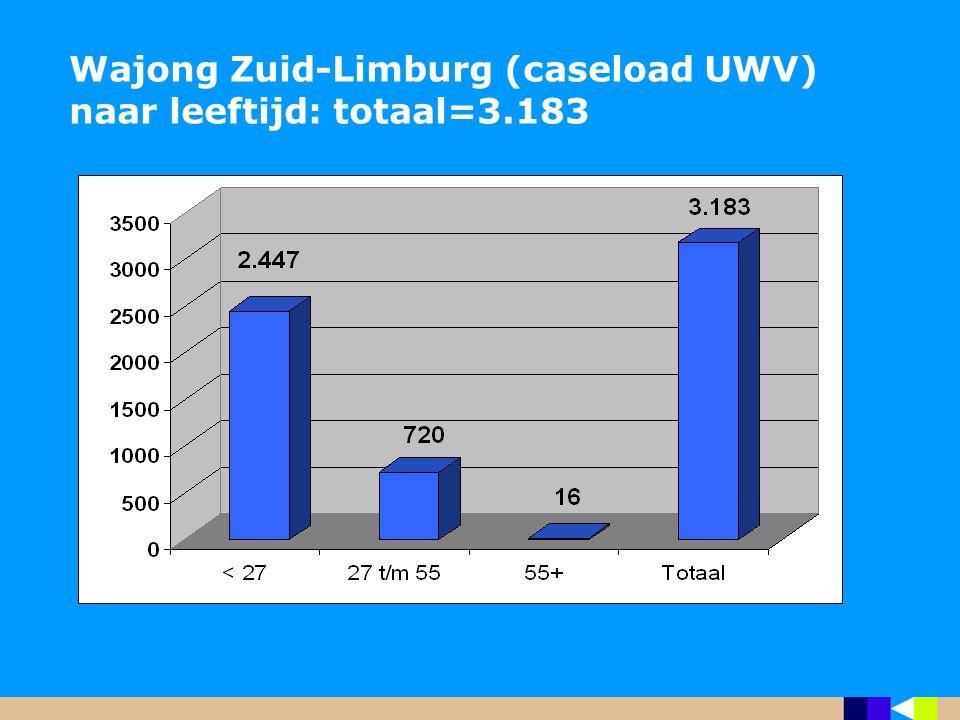 Wajong Zuid-Limburg (caseload UWV) naar leeftijd: totaal=3.183