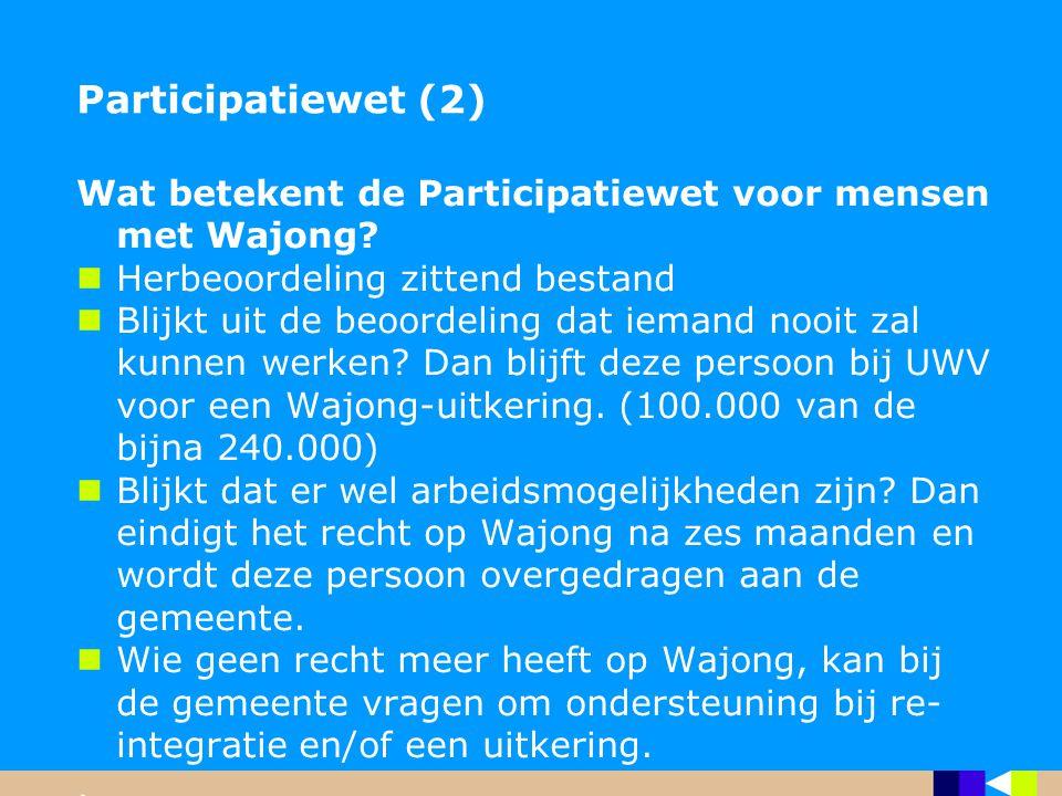 Participatiewet (2) Wat betekent de Participatiewet voor mensen met Wajong? Herbeoordeling zittend bestand Blijkt uit de beoordeling dat iemand nooit
