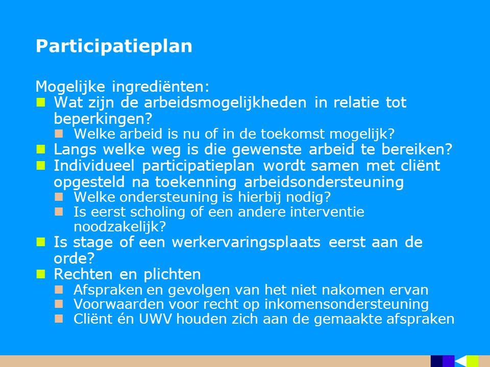 Participatieplan Mogelijke ingrediënten: Wat zijn de arbeidsmogelijkheden in relatie tot beperkingen? Welke arbeid is nu of in de toekomst mogelijk? L