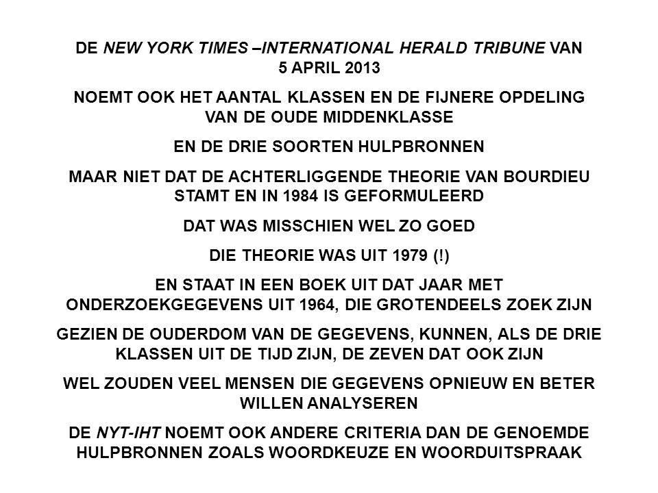 DE NEW YORK TIMES –INTERNATIONAL HERALD TRIBUNE VAN 5 APRIL 2013 NOEMT OOK HET AANTAL KLASSEN EN DE FIJNERE OPDELING VAN DE OUDE MIDDENKLASSE EN DE DRIE SOORTEN HULPBRONNEN MAAR NIET DAT DE ACHTERLIGGENDE THEORIE VAN BOURDIEU STAMT EN IN 1984 IS GEFORMULEERD DAT WAS MISSCHIEN WEL ZO GOED DIE THEORIE WAS UIT 1979 (!) EN STAAT IN EEN BOEK UIT DAT JAAR MET ONDERZOEKGEGEVENS UIT 1964, DIE GROTENDEELS ZOEK ZIJN GEZIEN DE OUDERDOM VAN DE GEGEVENS, KUNNEN, ALS DE DRIE KLASSEN UIT DE TIJD ZIJN, DE ZEVEN DAT OOK ZIJN WEL ZOUDEN VEEL MENSEN DIE GEGEVENS OPNIEUW EN BETER WILLEN ANALYSEREN DE NYT-IHT NOEMT OOK ANDERE CRITERIA DAN DE GENOEMDE HULPBRONNEN ZOALS WOORDKEUZE EN WOORDUITSPRAAK