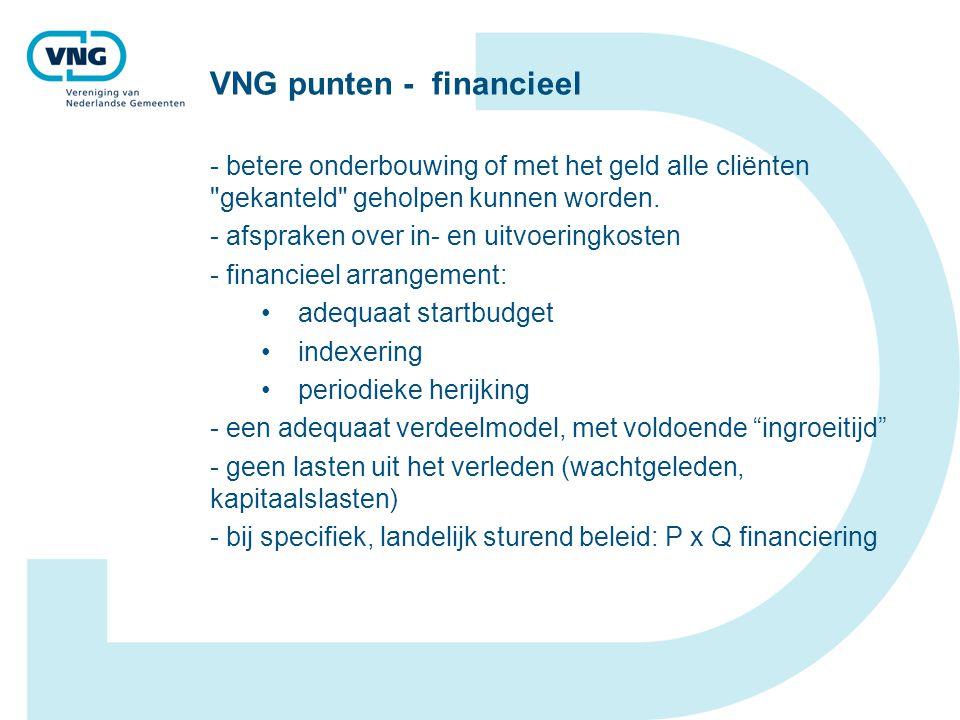 VNG punten - financieel - betere onderbouwing of met het geld alle cliënten gekanteld geholpen kunnen worden.