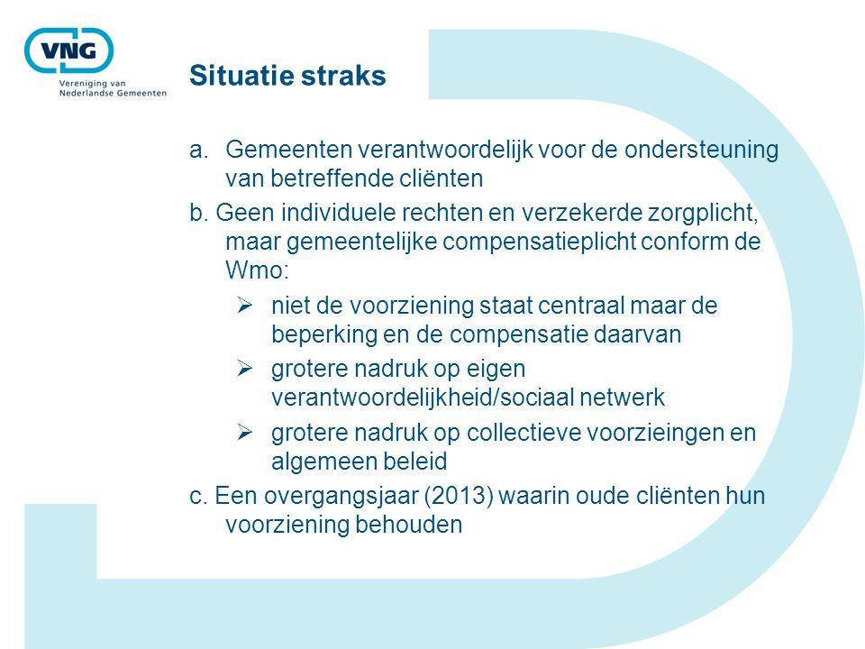 Situatie straks a.Gemeenten verantwoordelijk voor de ondersteuning van betreffende cliënten b.