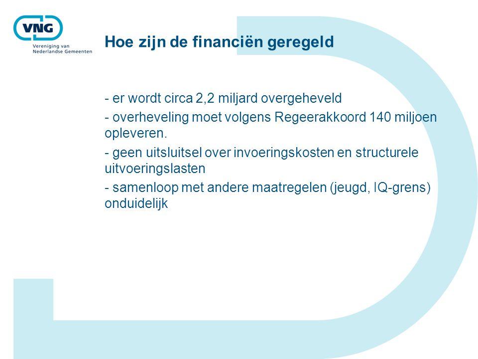 Hoe zijn de financiën geregeld - er wordt circa 2,2 miljard overgeheveld - overheveling moet volgens Regeerakkoord 140 miljoen opleveren.