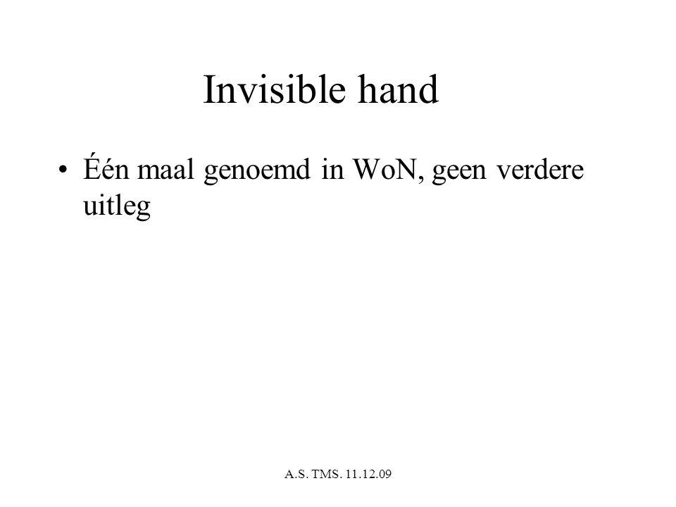 A.S. TMS. 11.12.09 Invisible hand Één maal genoemd in WoN, geen verdere uitleg