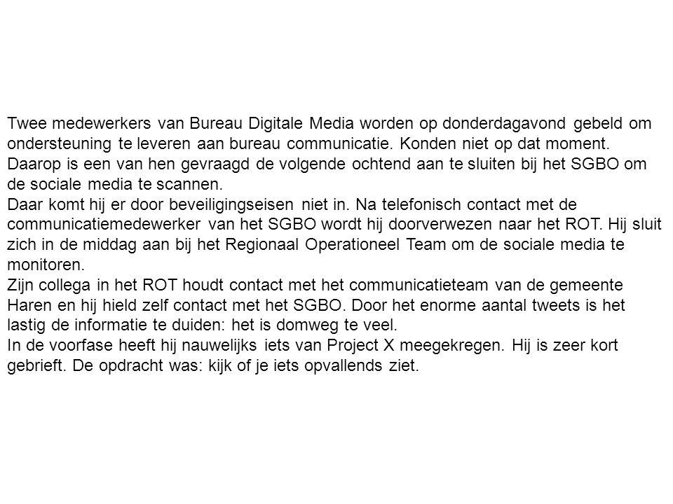 Twee medewerkers van Bureau Digitale Media worden op donderdagavond gebeld om ondersteuning te leveren aan bureau communicatie.