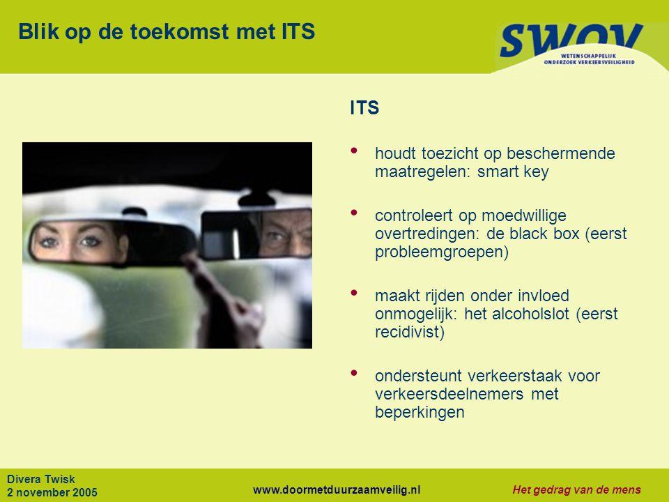 www.doormetduurzaamveilig.nlHet gedrag van de mens Divera Twisk 2 november 2005 Blik op de toekomst met ITS ITS houdt toezicht op beschermende maatreg