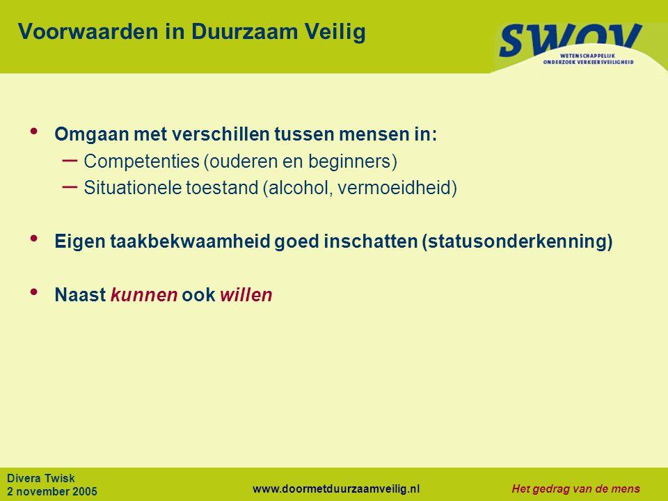 www.doormetduurzaamveilig.nlHet gedrag van de mens Divera Twisk 2 november 2005 Voorwaarden in Duurzaam Veilig Omgaan met verschillen tussen mensen in