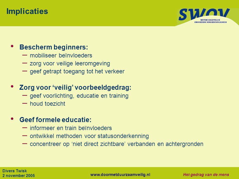www.doormetduurzaamveilig.nlHet gedrag van de mens Divera Twisk 2 november 2005 Implicaties Bescherm beginners: – mobiliseer beïnvloeders – zorg voor
