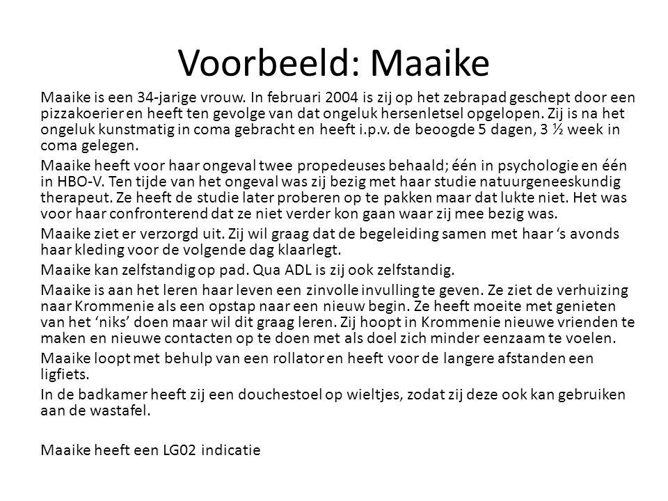 Voorbeeld: Maaike Maaike is een 34-jarige vrouw. In februari 2004 is zij op het zebrapad geschept door een pizzakoerier en heeft ten gevolge van dat o