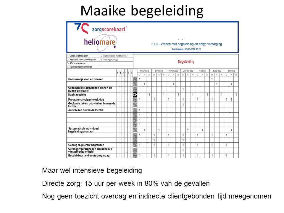 Maaike begeleiding Maar wel intensieve begeleiding Directe zorg: 15 uur per week in 80% van de gevallen Nog geen toezicht overdag en indirecte cliëntg