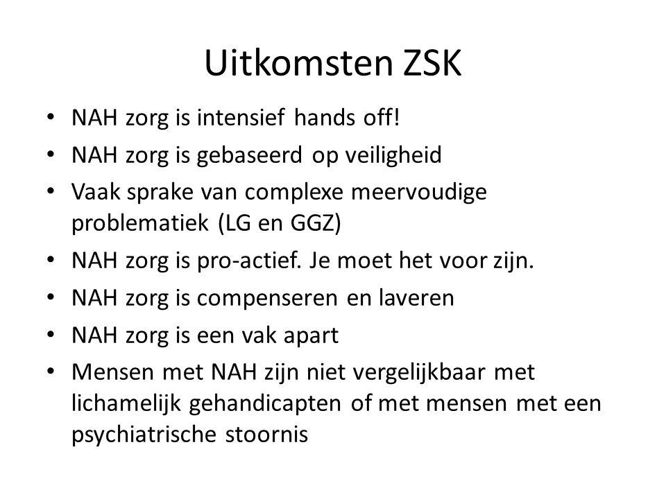 Uitkomsten ZSK NAH zorg is intensief hands off! NAH zorg is gebaseerd op veiligheid Vaak sprake van complexe meervoudige problematiek (LG en GGZ) NAH