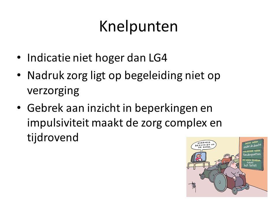 Knelpunten Indicatie niet hoger dan LG4 Nadruk zorg ligt op begeleiding niet op verzorging Gebrek aan inzicht in beperkingen en impulsiviteit maakt de