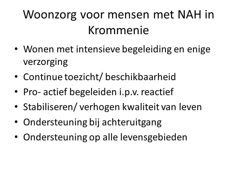 Woonzorg voor mensen met NAH in Krommenie Wonen met intensieve begeleiding en enige verzorging Continue toezicht/ beschikbaarheid Pro- actief begeleid