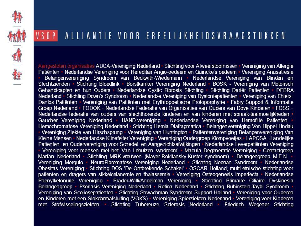 Aangesloten organisaties ADCA-Vereniging Nederland Stichting voor Afweerstoornissen Vereniging van Allergie Patiënten Nederlandse Vereniging voor Here