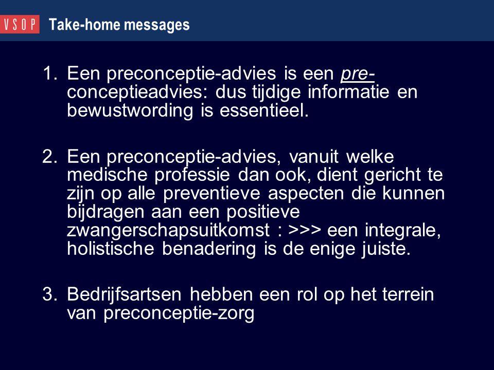 Take-home messages 1.Een preconceptie-advies is een pre- conceptieadvies: dus tijdige informatie en bewustwording is essentieel. 2.Een preconceptie-ad