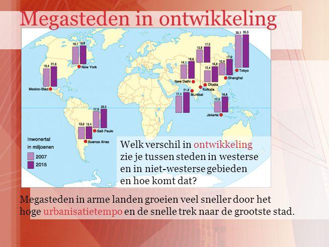 Welk verschil in ontwikkeling zie je tussen steden in westerse en in niet-westerse gebieden en hoe komt dat.