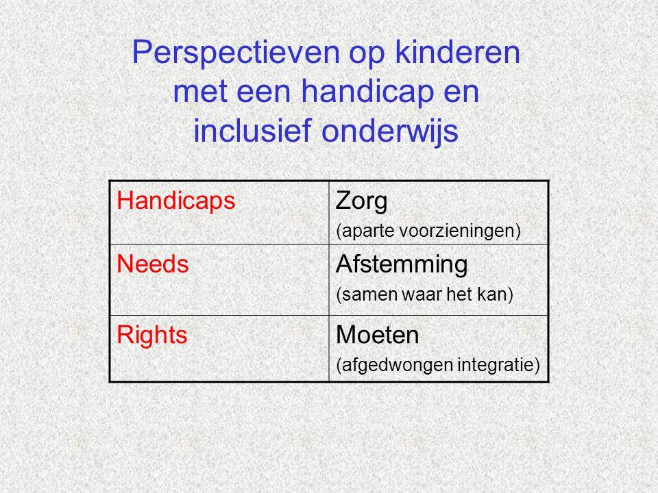 HandicapsZorg (aparte voorzieningen) NeedsAfstemming (samen waar het kan) RightsMoeten (afgedwongen integratie) Perspectieven op kinderen met een hand