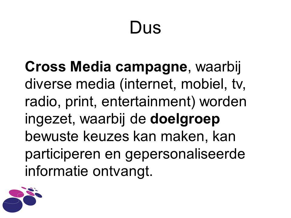 Dus Cross Media campagne, waarbij diverse media (internet, mobiel, tv, radio, print, entertainment) worden ingezet, waarbij de doelgroep bewuste keuze