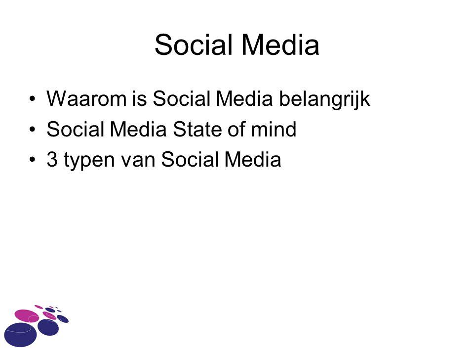 Waarom is Social Media belangrijk Social Media State of mind 3 typen van Social Media