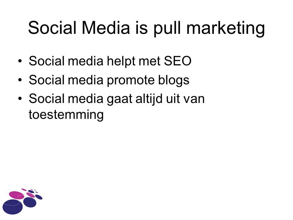 Social Media is pull marketing Social media helpt met SEO Social media promote blogs Social media gaat altijd uit van toestemming