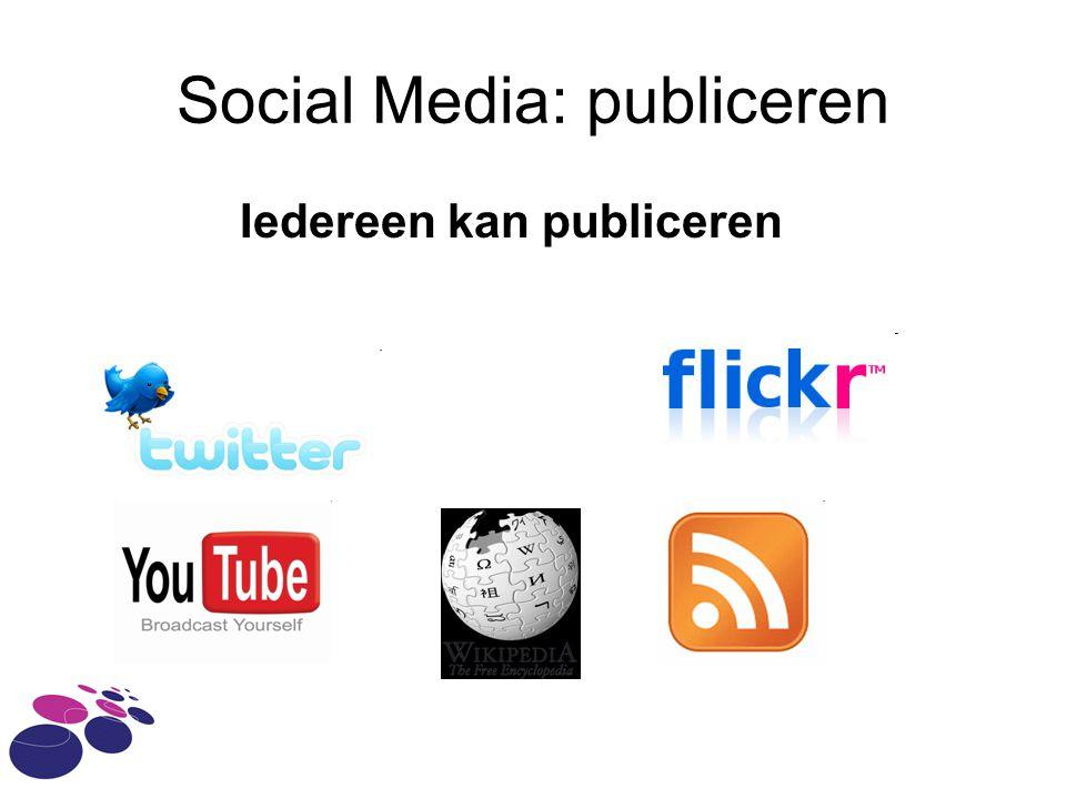 Social Media: publiceren Iedereen kan publiceren